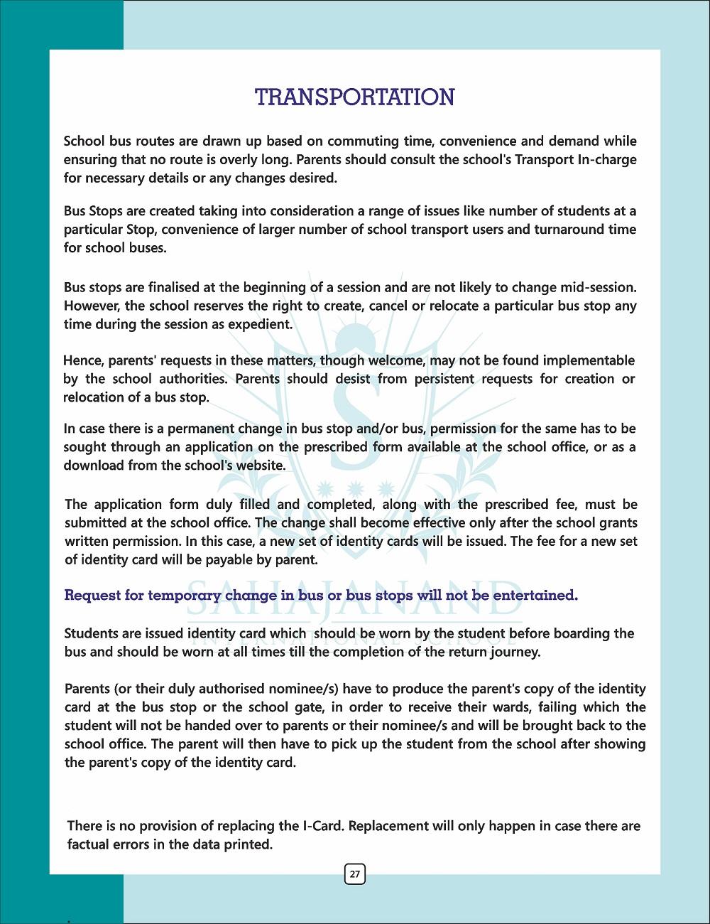 Transportation rule – Sahajanand International School